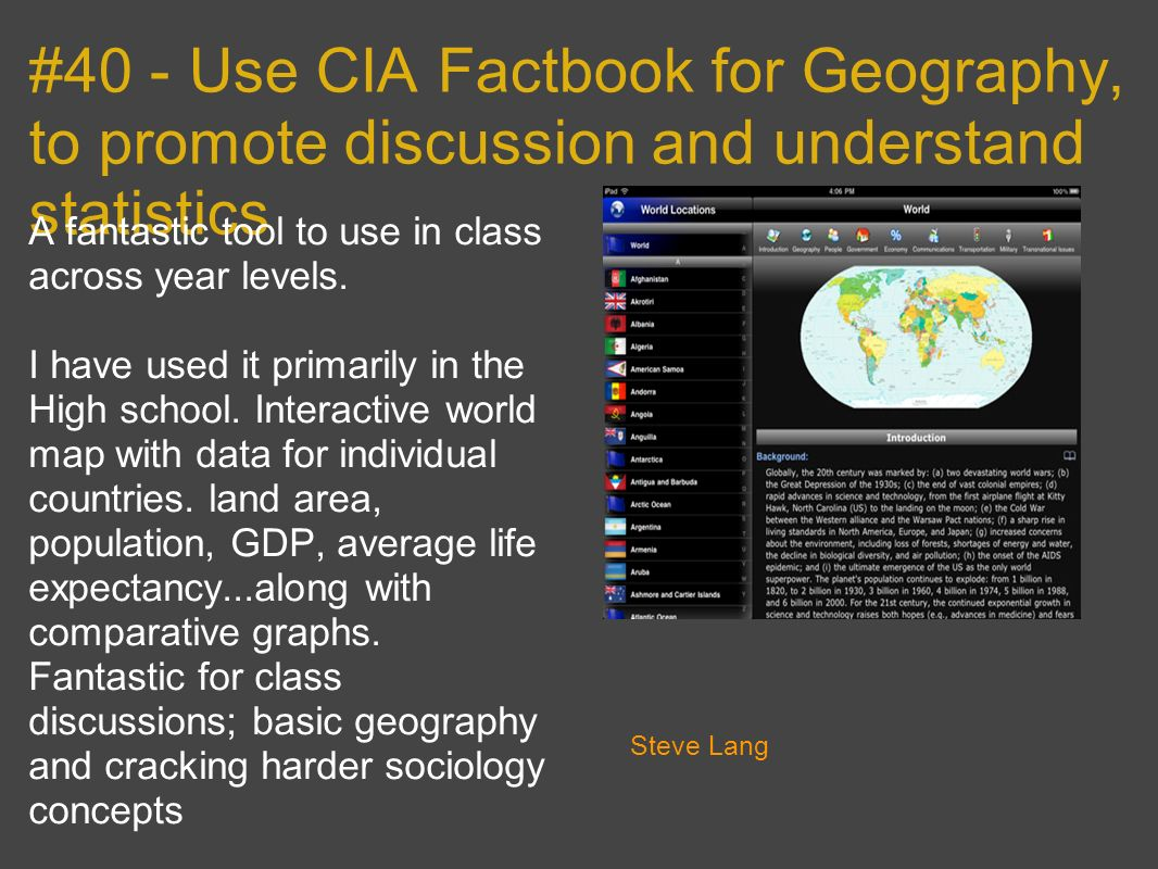 #40 - Use CIA Factbook for Geography, to promote discussion and understand statistics