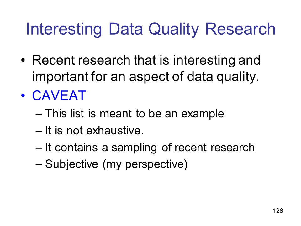 Interesting Data Quality Research