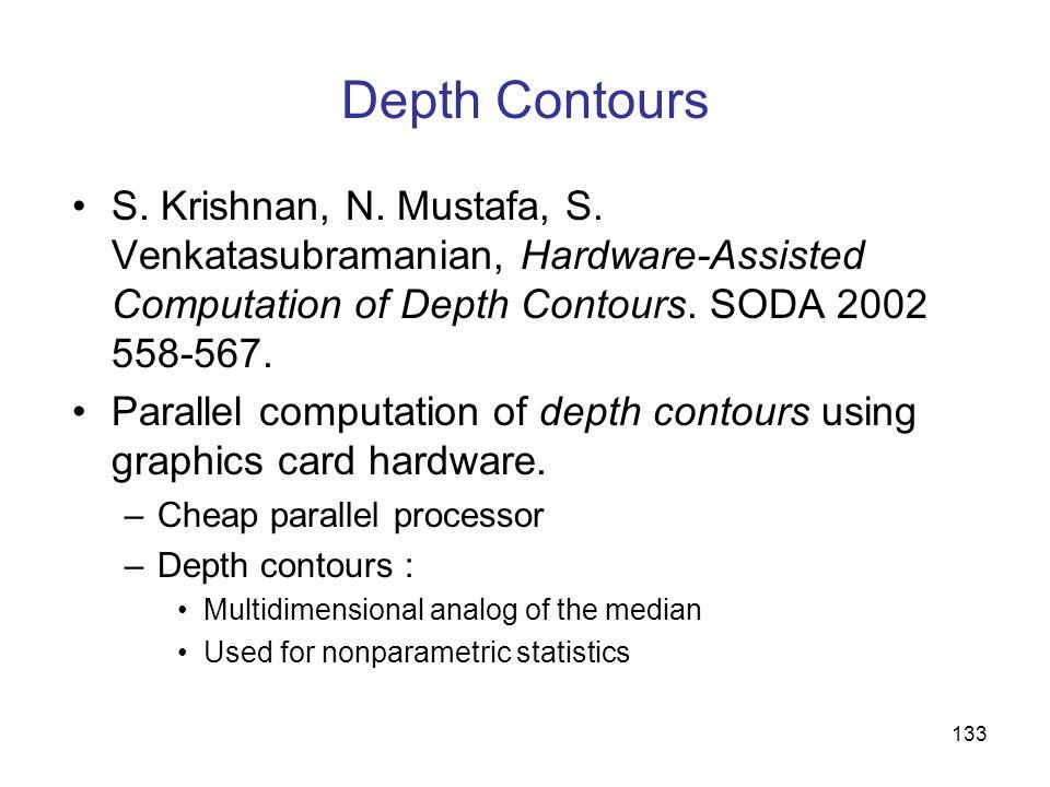 Depth ContoursS. Krishnan, N. Mustafa, S. Venkatasubramanian, Hardware-Assisted Computation of Depth Contours. SODA 2002 558-567.