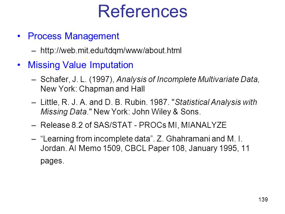 References Process Management Missing Value Imputation