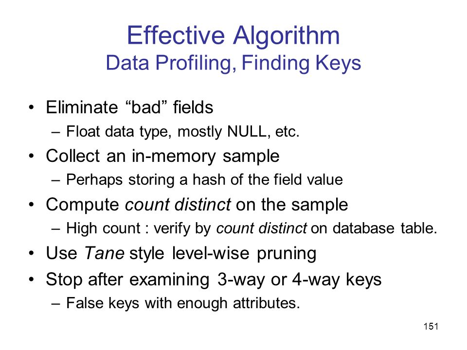 Effective Algorithm Data Profiling, Finding Keys