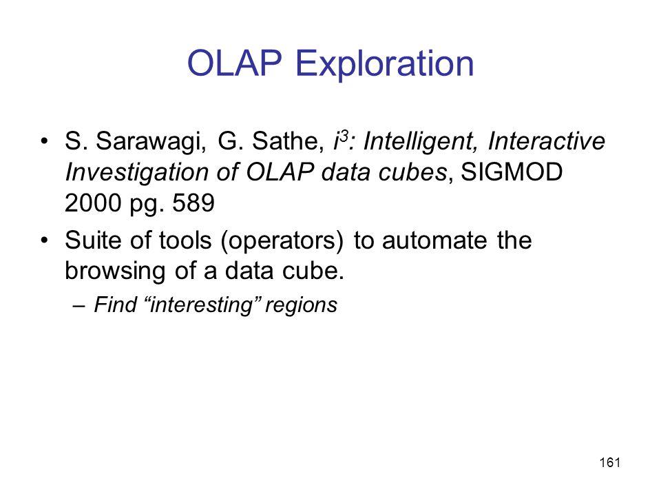 OLAP ExplorationS. Sarawagi, G. Sathe, i3: Intelligent, Interactive Investigation of OLAP data cubes, SIGMOD 2000 pg. 589.