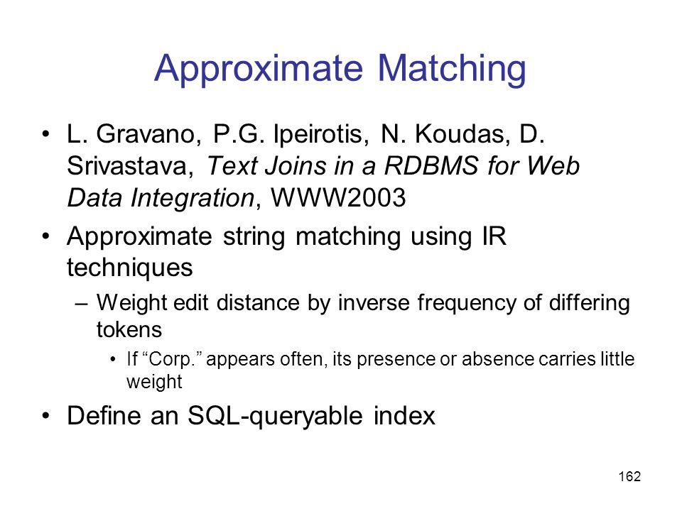 Approximate MatchingL. Gravano, P.G. Ipeirotis, N. Koudas, D. Srivastava, Text Joins in a RDBMS for Web Data Integration, WWW2003.