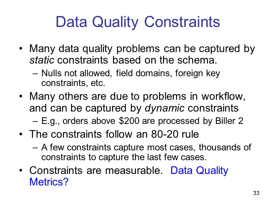Data Quality Constraints