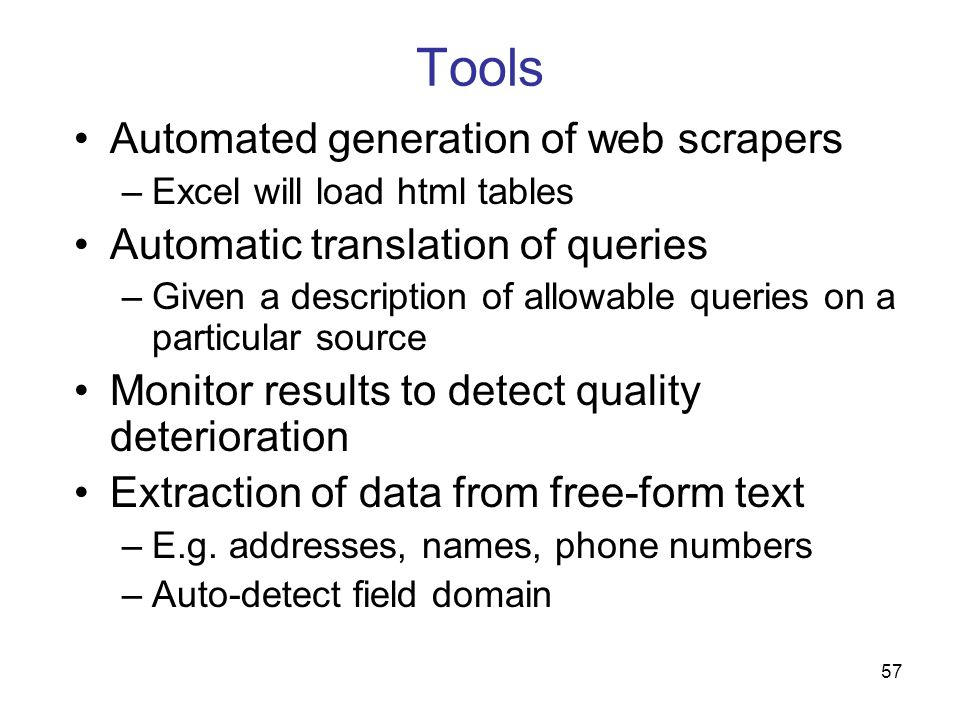 Tools Automated generation of web scrapers