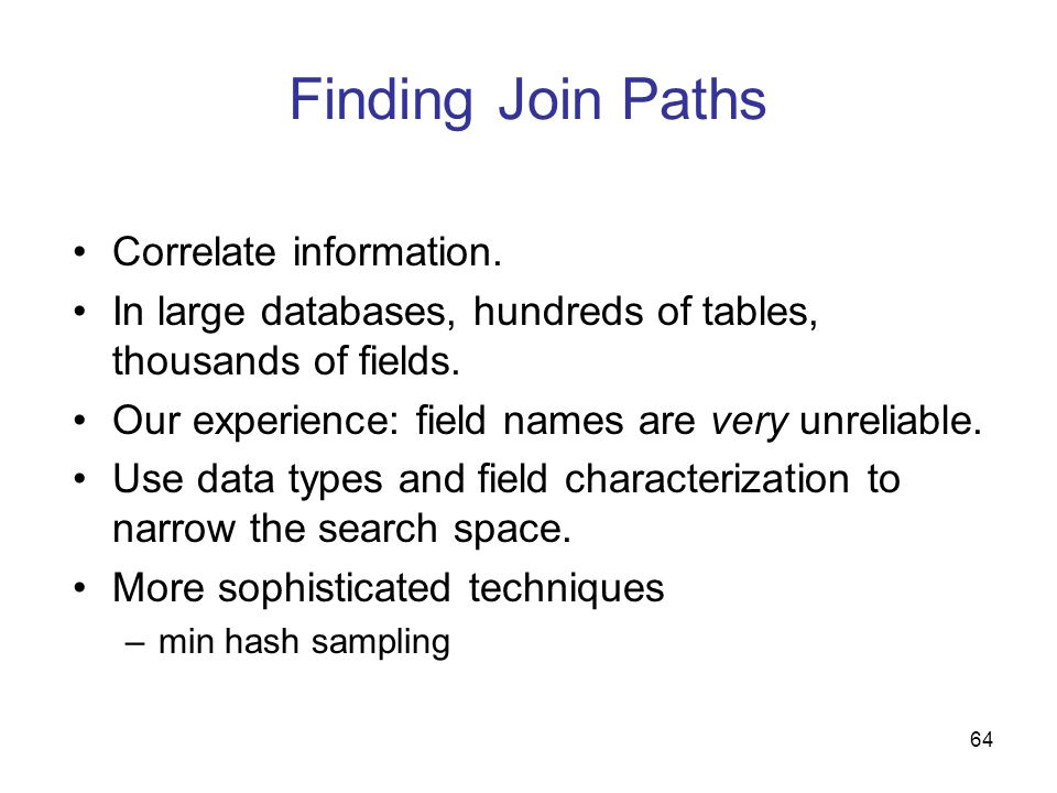 Finding Join Paths Correlate information.