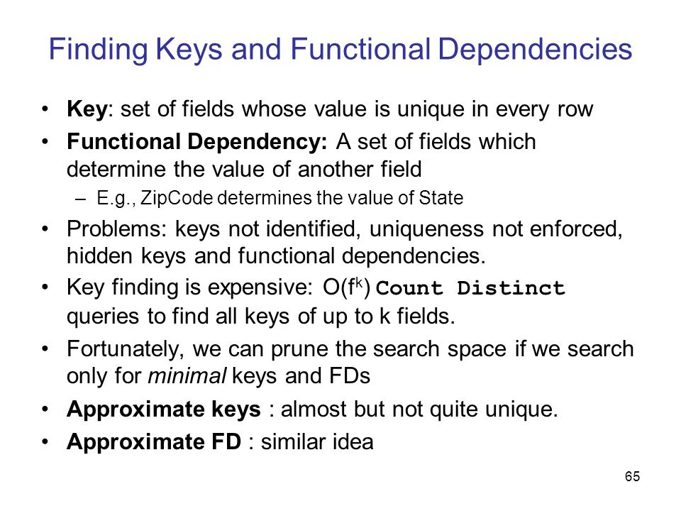 Finding Keys and Functional Dependencies