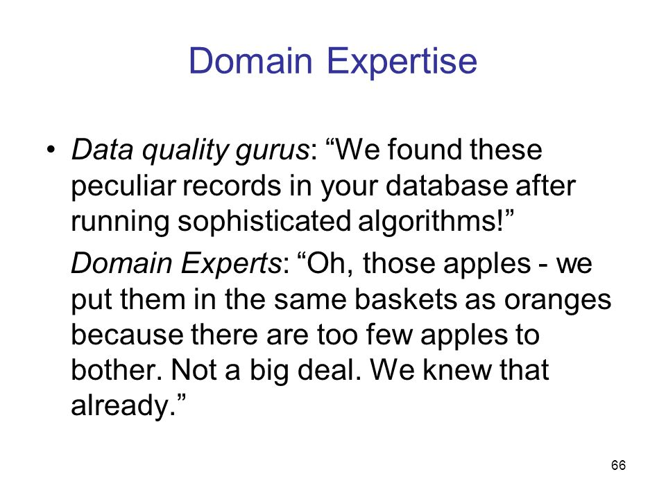 Domain Expertise Data quality gurus: We found these peculiar records in your database after running sophisticated algorithms!