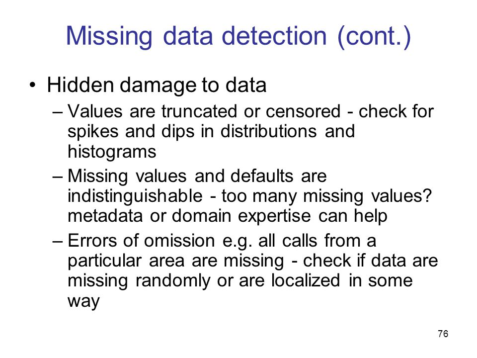 Missing data detection (cont.)