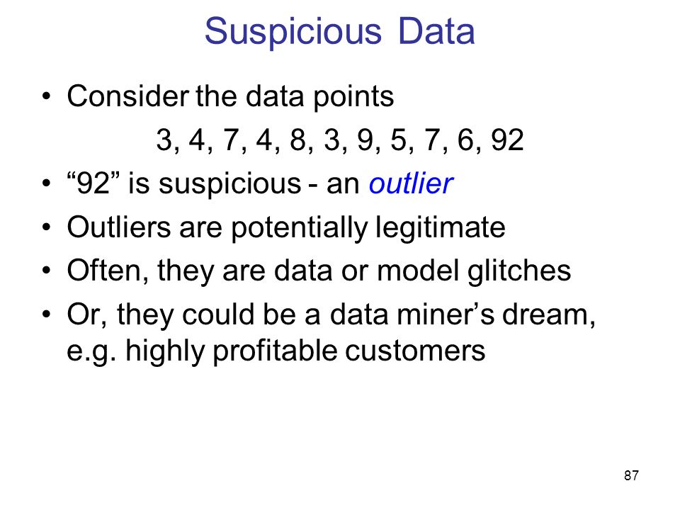 Suspicious Data Consider the data points
