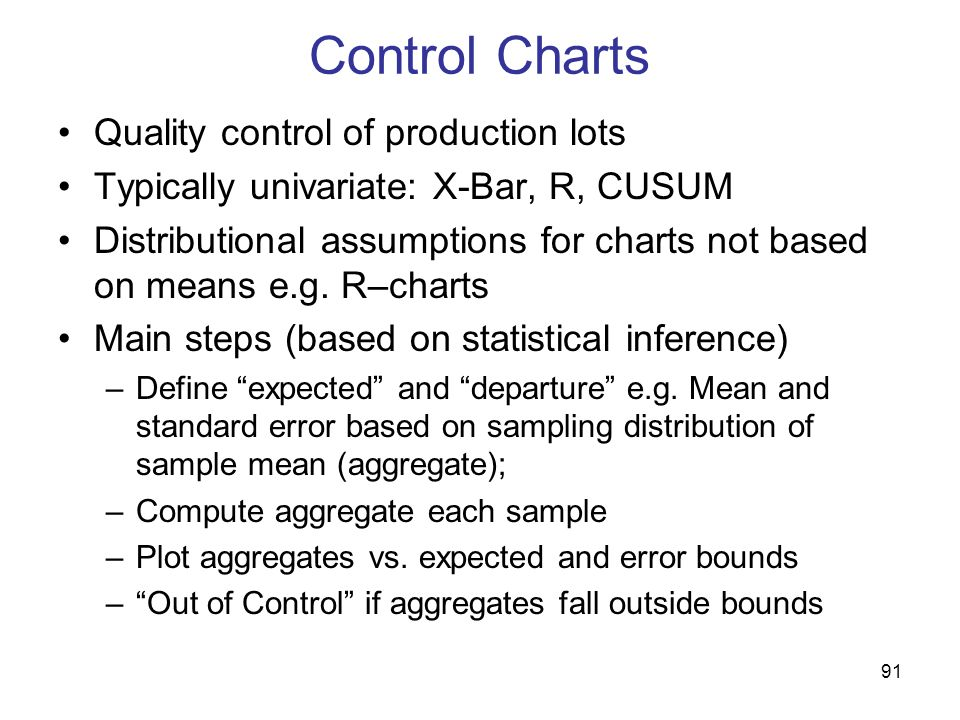 Control Charts Quality control of production lots