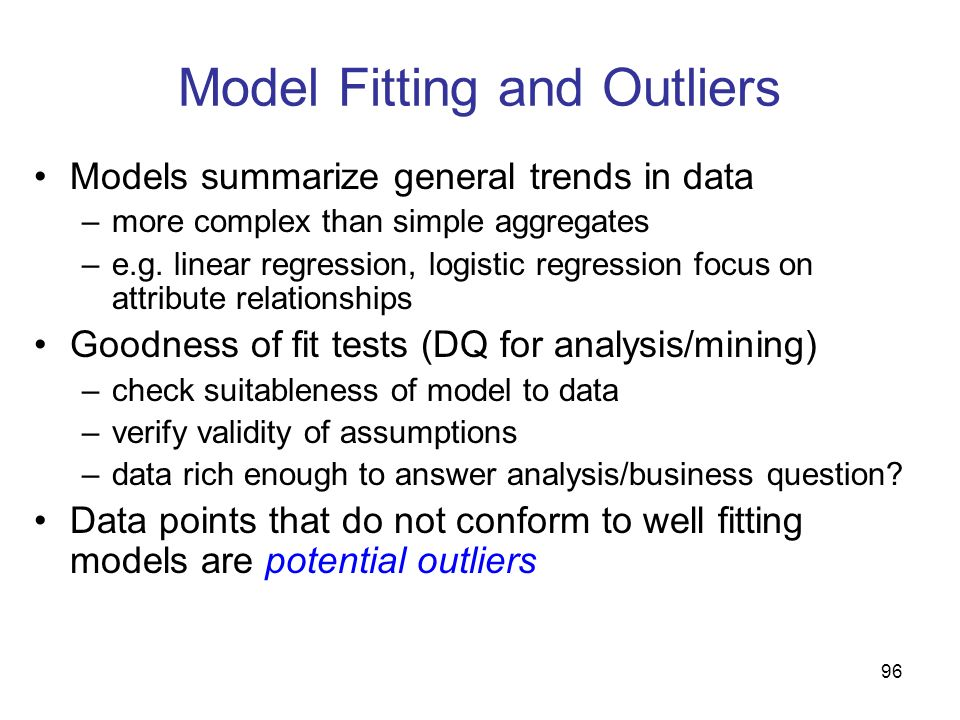 Model Fitting and Outliers