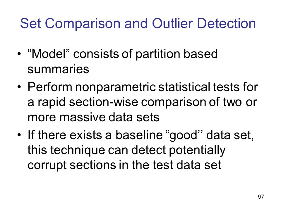 Set Comparison and Outlier Detection