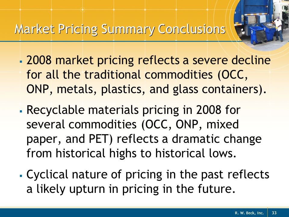 Market Pricing Summary Conclusions