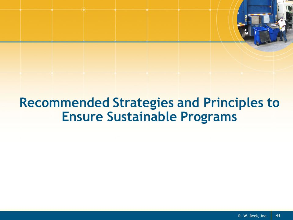 Recommended Strategies and Principles to Ensure Sustainable Programs