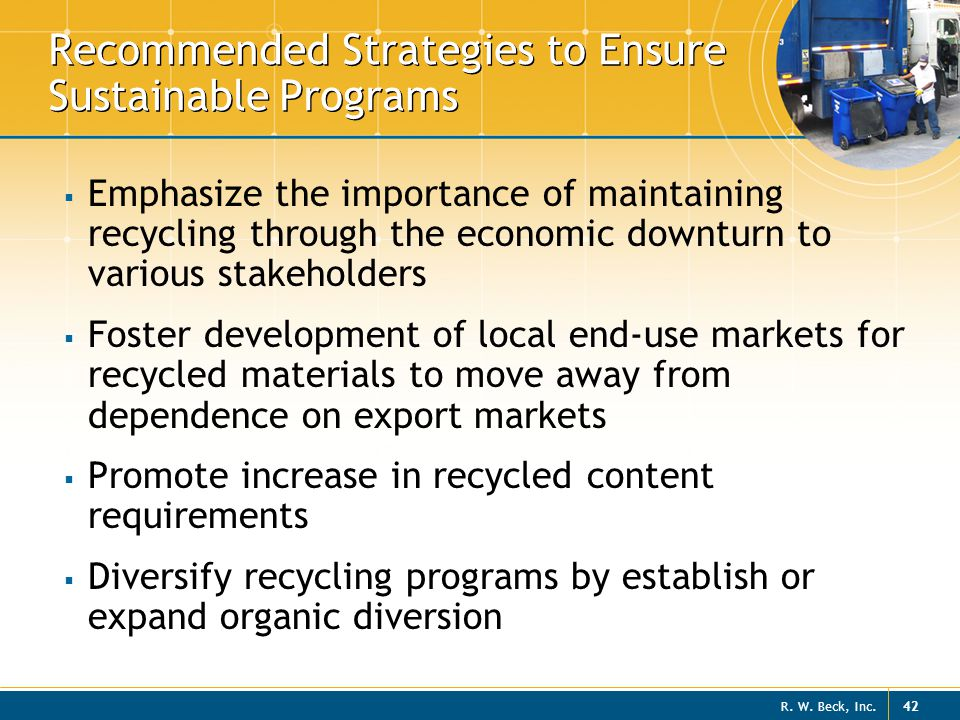 Recommended Strategies to Ensure Sustainable Programs
