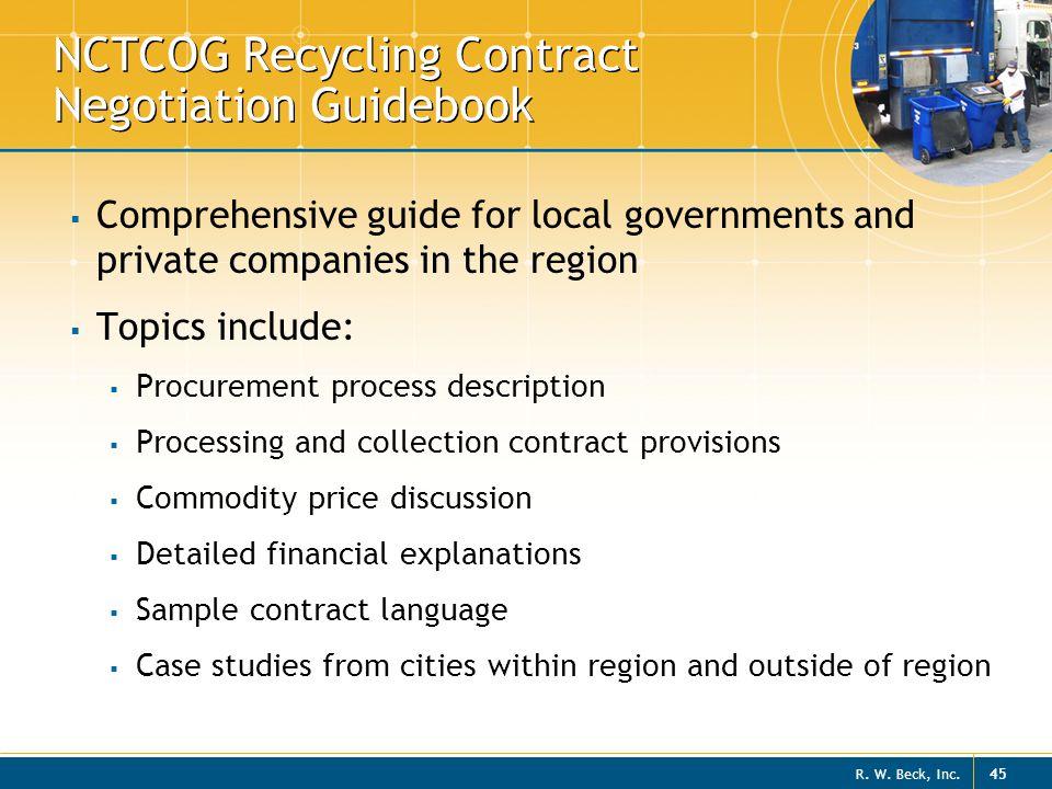 NCTCOG Recycling Contract Negotiation Guidebook