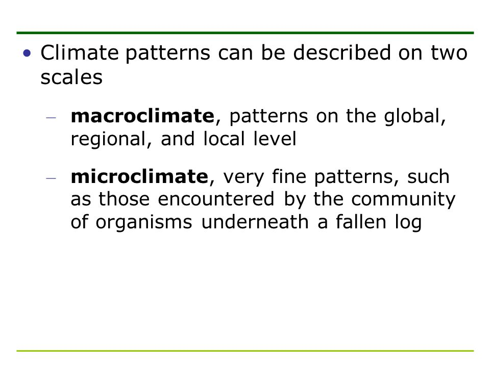 Climate patterns can be described on two scales