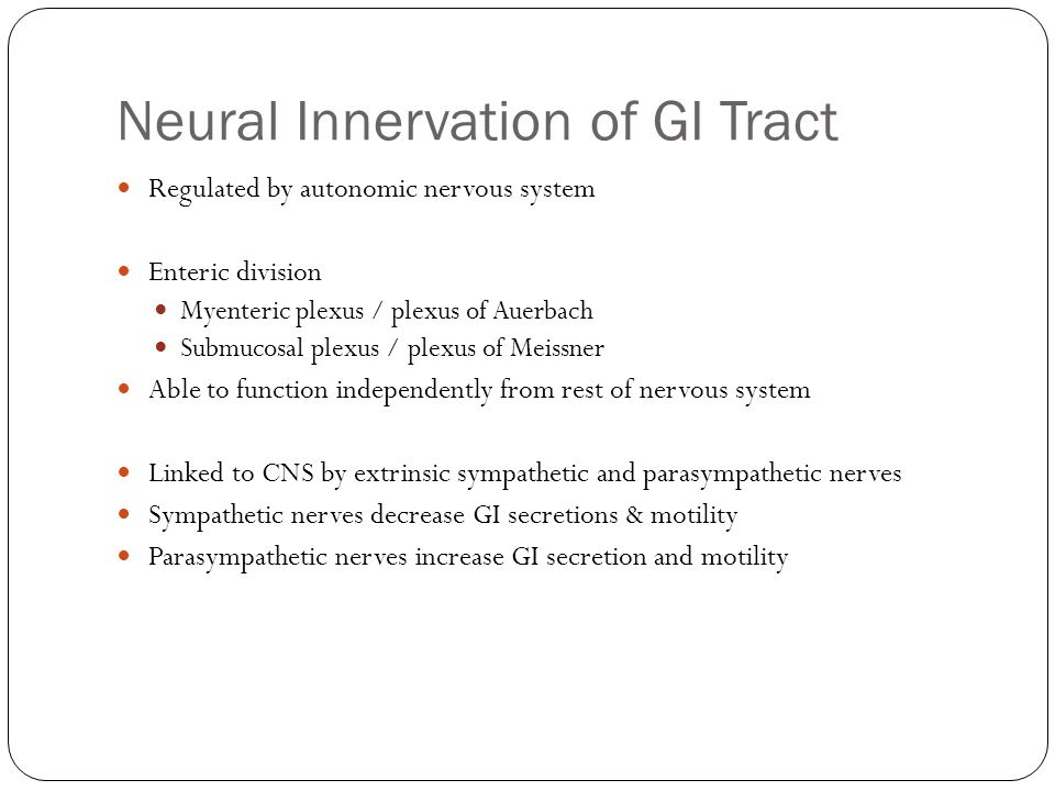 Neural Innervation of GI Tract