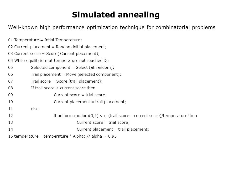 Simulated annealingWell-known high performance optimization technique for combinatorial problems. 01 Temperature = Intial Temperature;