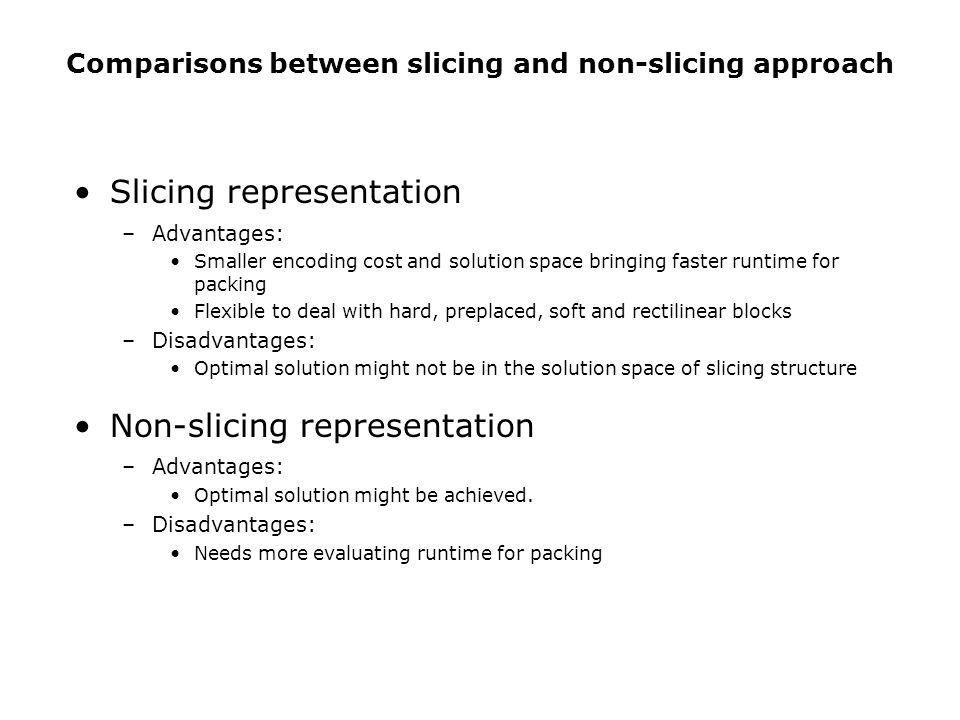 Comparisons between slicing and non-slicing approach