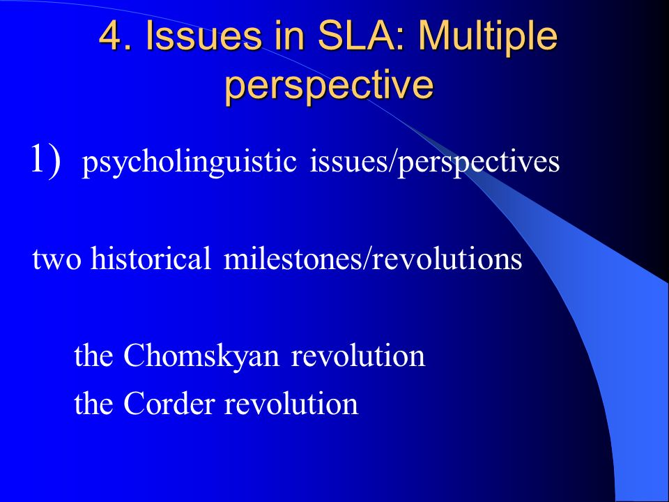 4. Issues in SLA: Multiple perspective