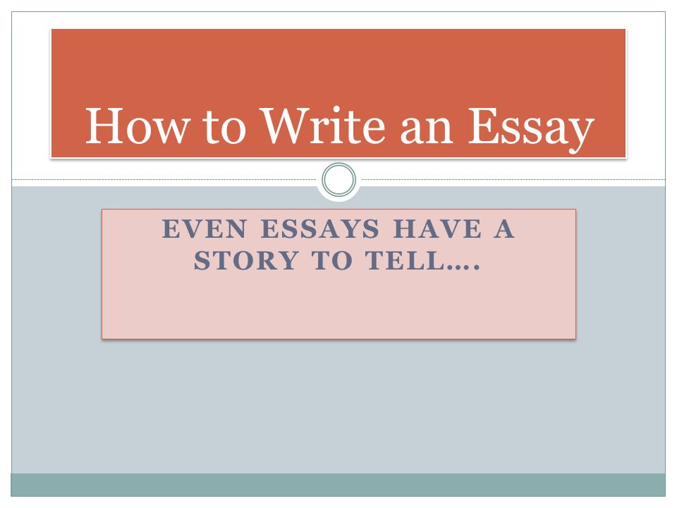Even Essays have a Story to Tell….