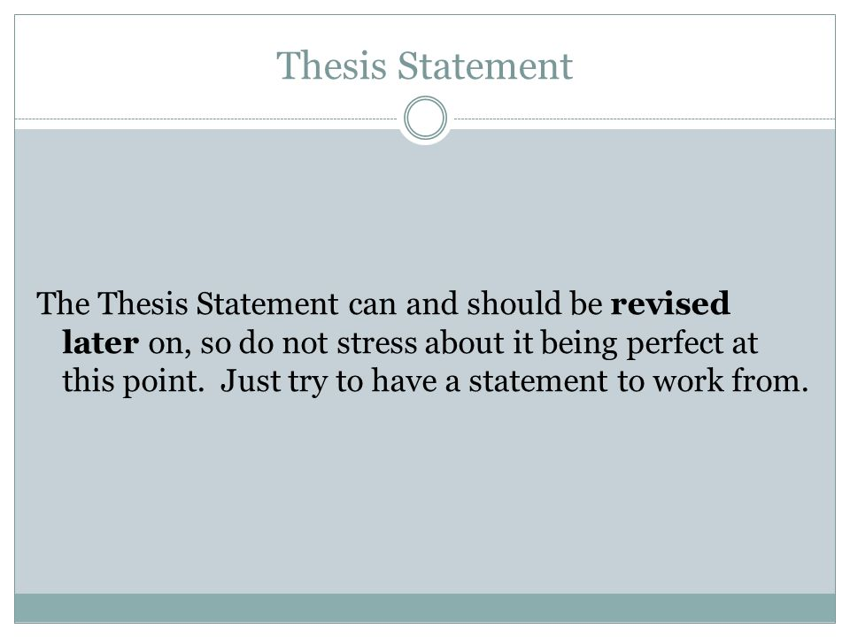 revised thesis statement What is the thesis statement definition: revised thesis statements can illuminate the differences between a poor thesis statement and a well-written.