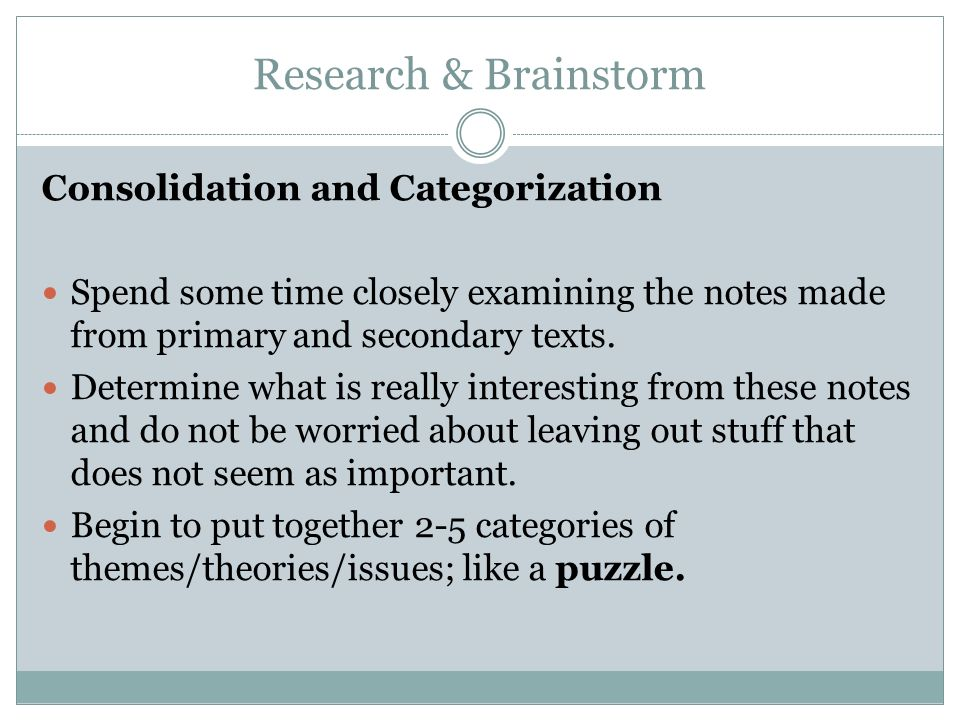 Research & Brainstorm Consolidation and Categorization