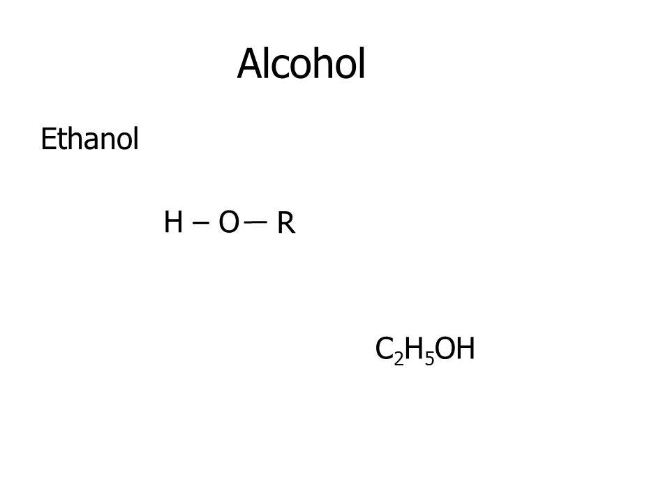 Alcohol Ethanol H – O R C2H5OH