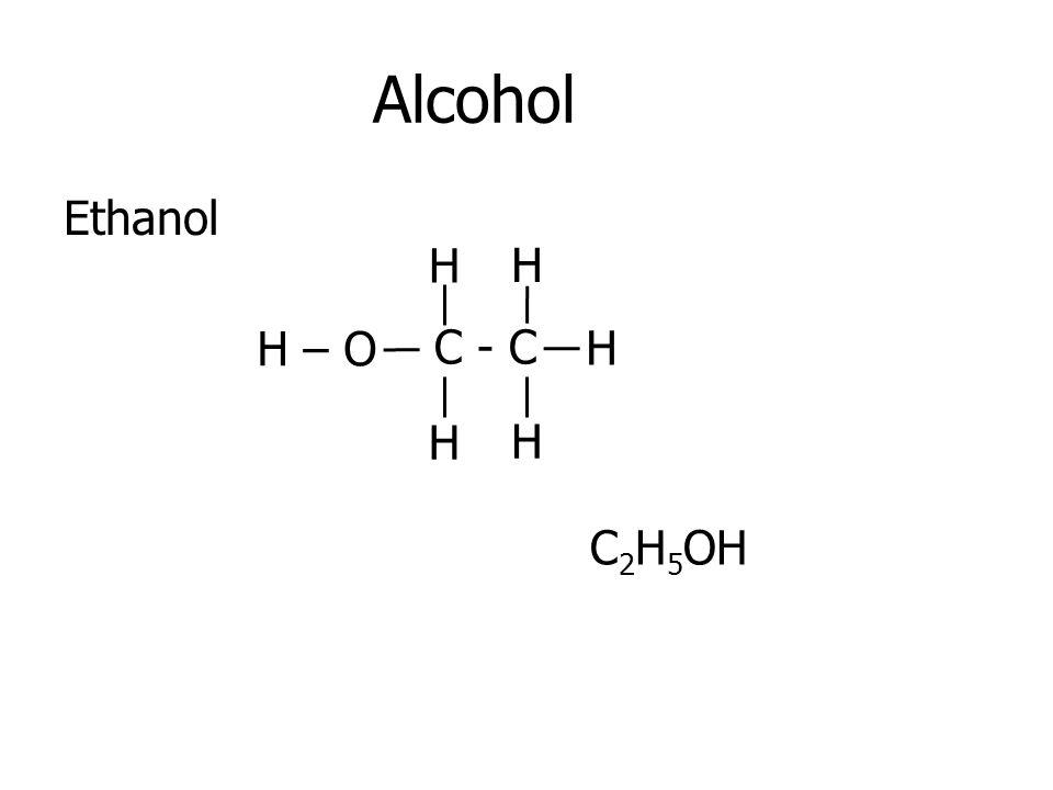 Alcohol Ethanol H H H – O C - C H H H C2H5OH