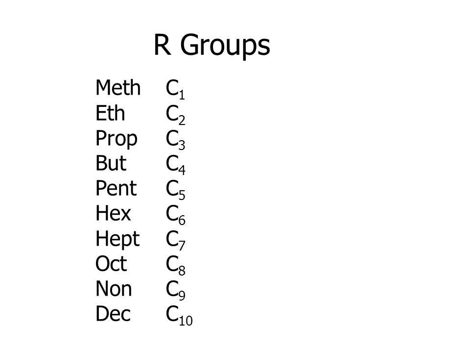 R Groups Meth C1 Eth C2 Prop C3 But C4 Pent C5 Hex C6 Hept C7 Oct C8