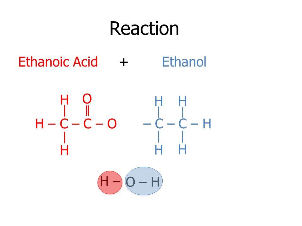 Reaction Ethanoic Acid + Ethanol H O H H H – C – C – O – C – C – H H H