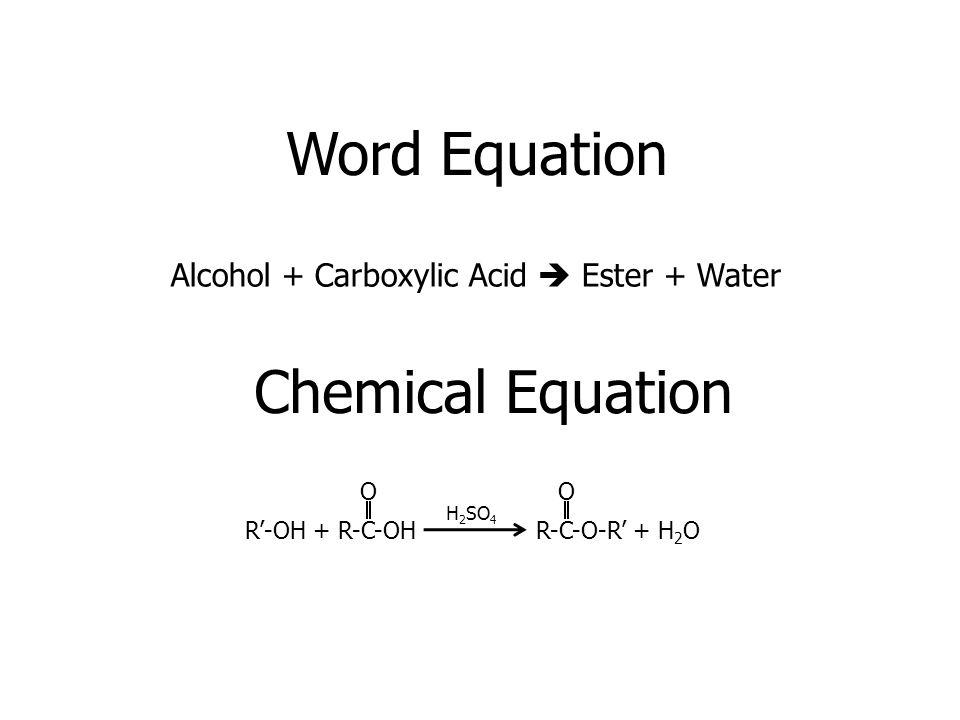 Word Equation Chemical Equation
