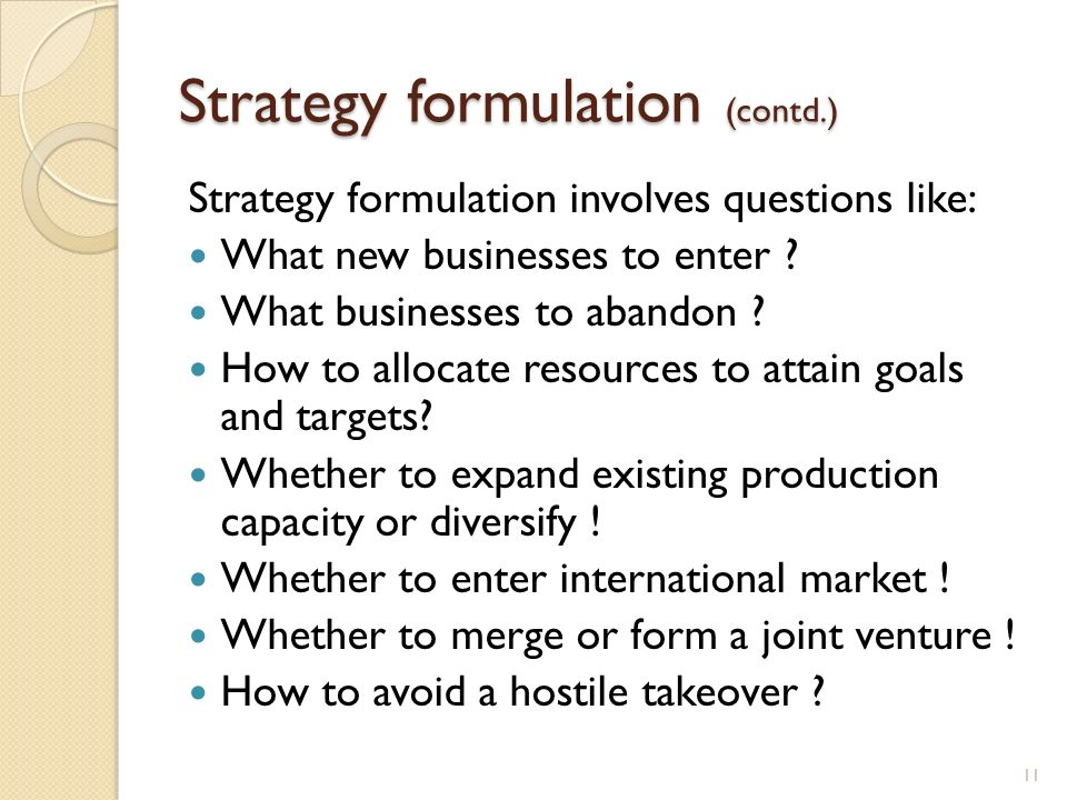 Strategy formulation (contd.)