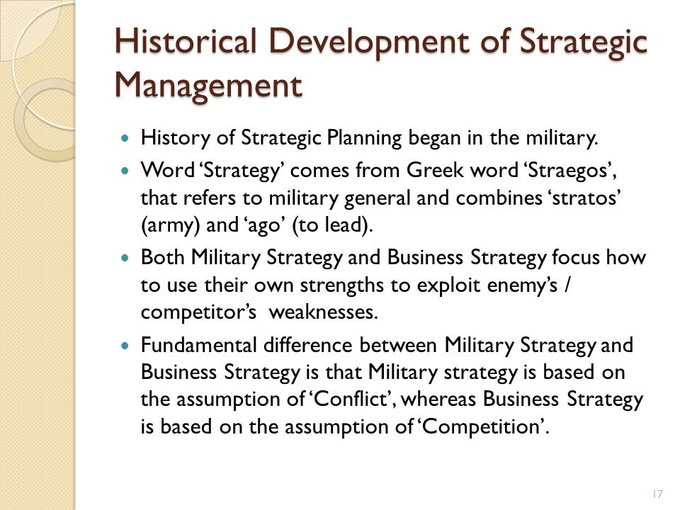 Historical Development of Strategic Management