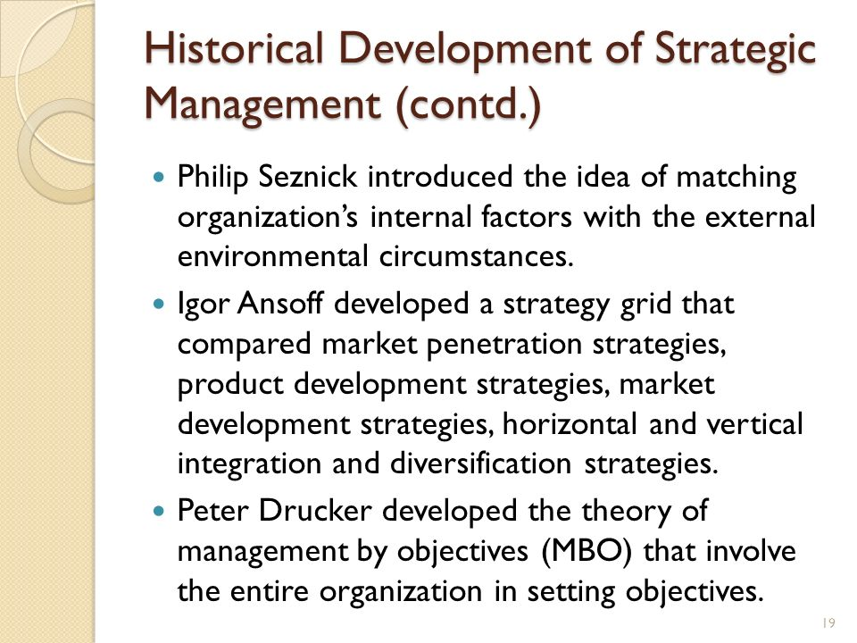 Historical Development of Strategic Management (contd.)