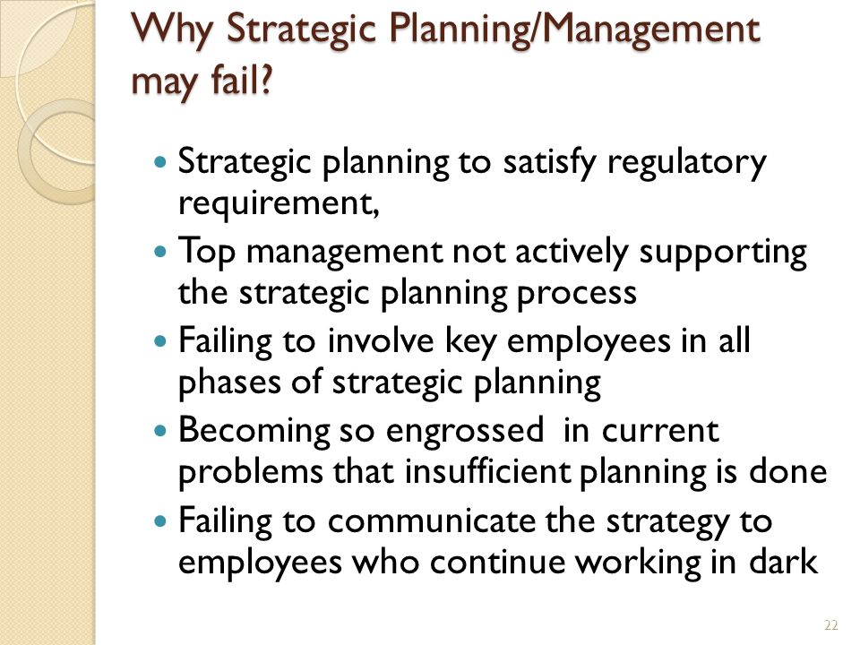 Why Strategic Planning/Management may fail
