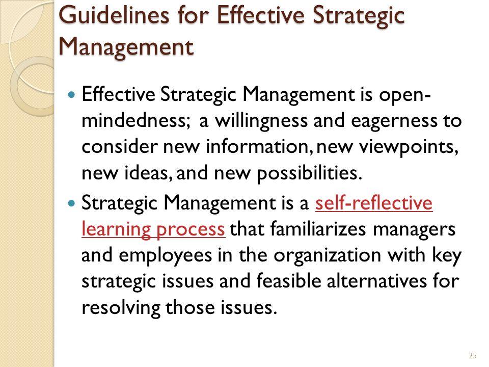 Guidelines for Effective Strategic Management