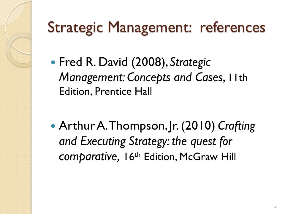 Strategic Management: references