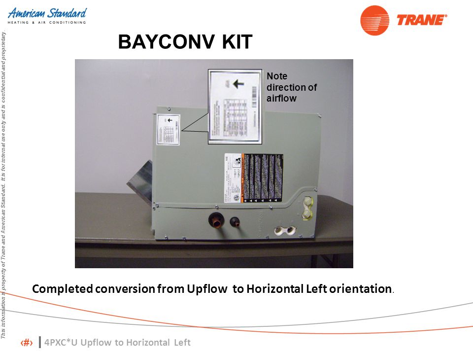 BAYCONV KIT Note direction of airflow. Completed conversion from Upflow to Horizontal Left orientation.