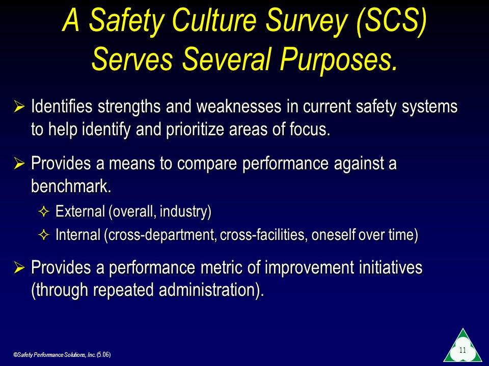 A Safety Culture Survey (SCS) Serves Several Purposes.