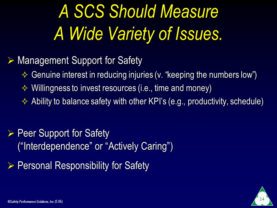 A SCS Should Measure A Wide Variety of Issues.