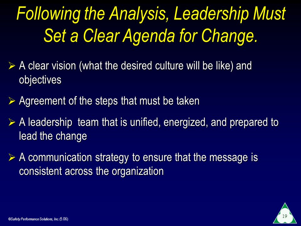 Following the Analysis, Leadership Must Set a Clear Agenda for Change.