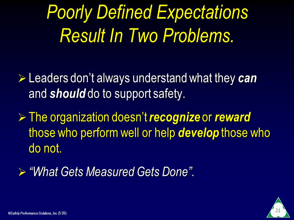 Poorly Defined Expectations Result In Two Problems.