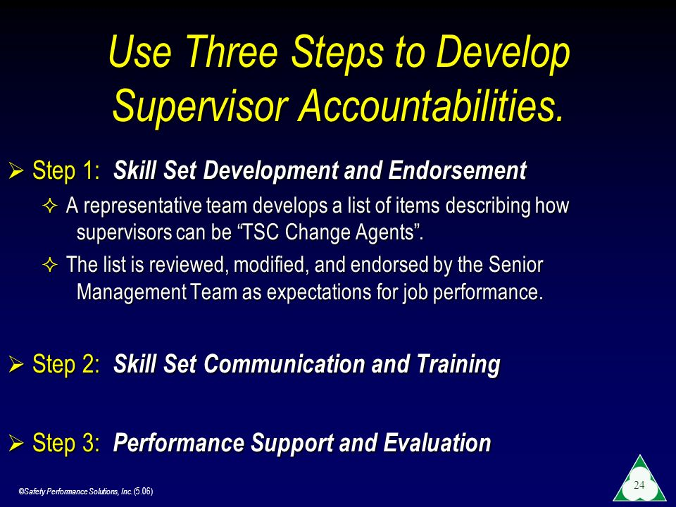 Use Three Steps to Develop Supervisor Accountabilities.