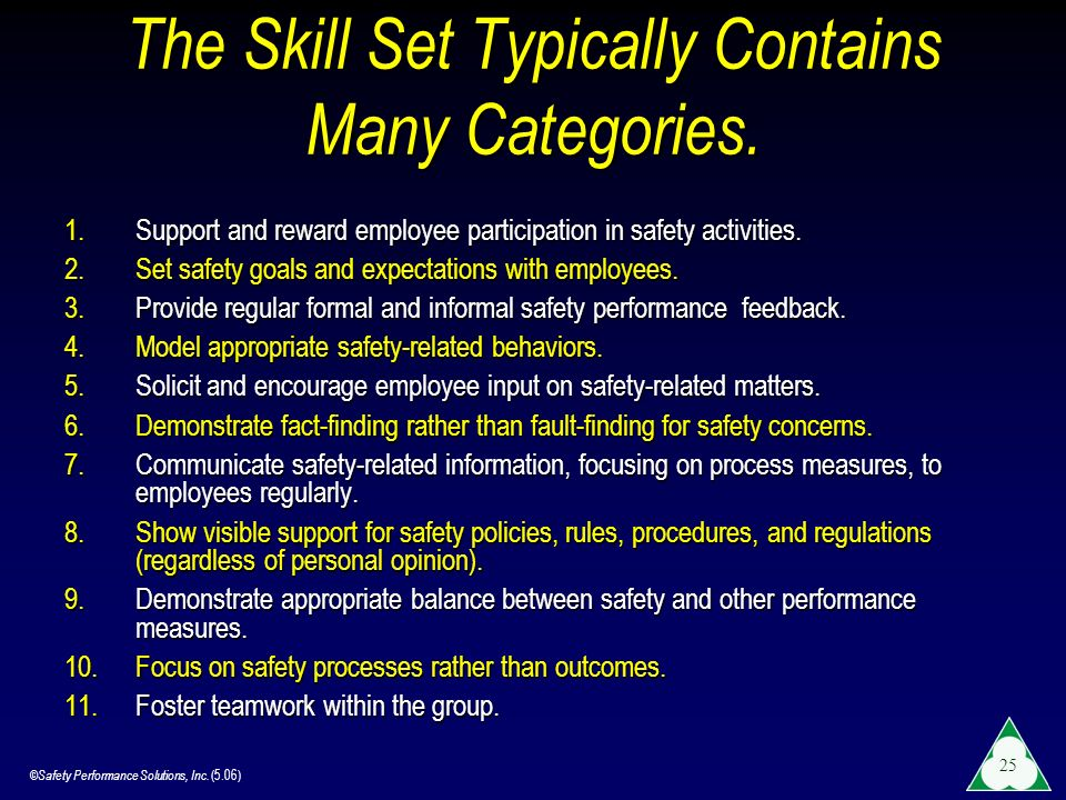 The Skill Set Typically Contains Many Categories.