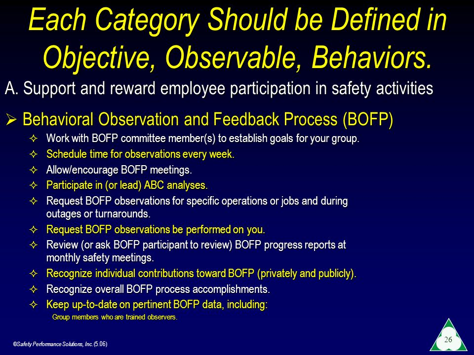 Each Category Should be Defined in Objective, Observable, Behaviors.