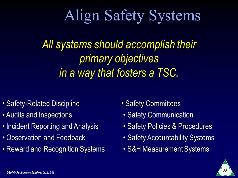 Align Safety Systems All systems should accomplish their primary objectives in a way that fosters a TSC.