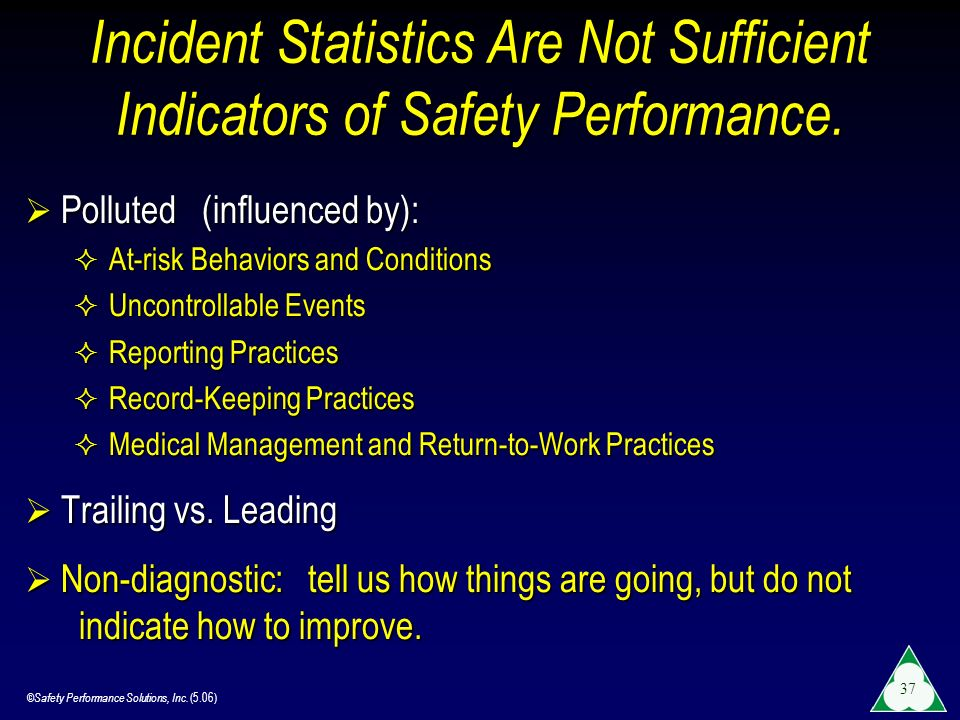 Incident Statistics Are Not Sufficient Indicators of Safety Performance.